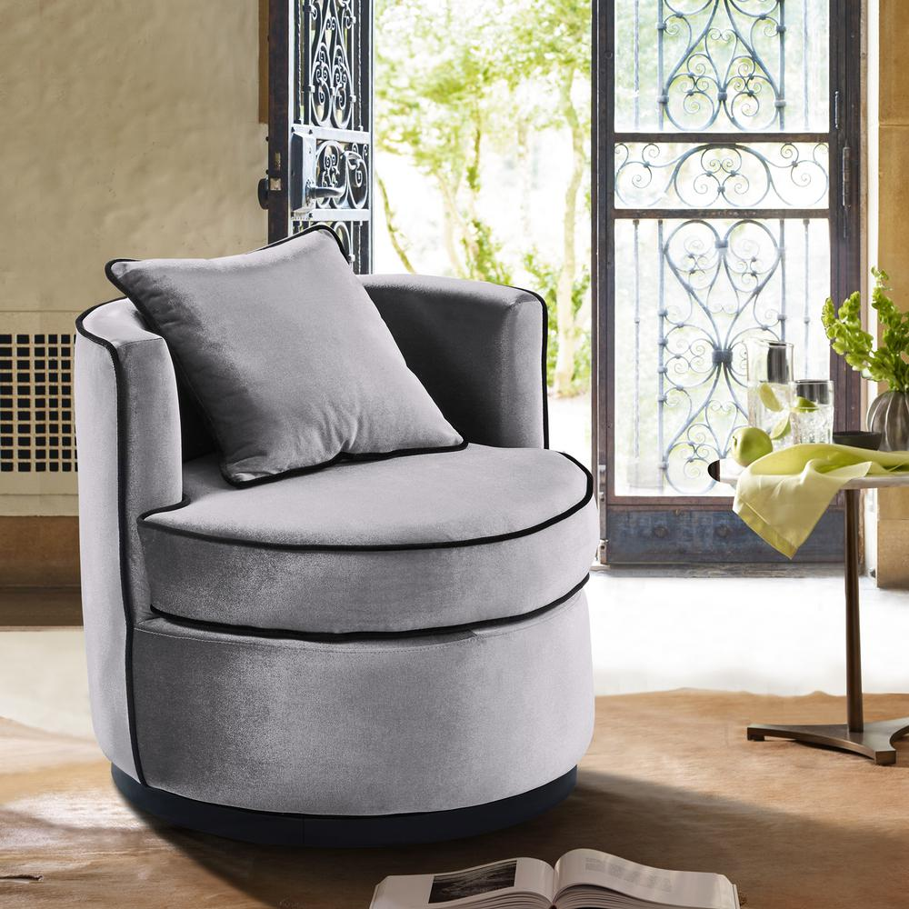 swivel chair in living room wheelchair malaysia armen truly grey velvet and black piping contemporary