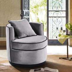 Swivel Chairs Living Room Cheap Sets Under 500 Furniture The Home Depot Truly Grey Velvet And Black Piping Contemporary Chair