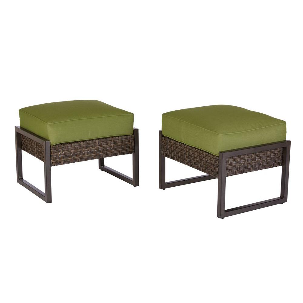 hampton bay swivel patio chairs kelty camp chair carol stream metal and woven ottomans with cushions (2-pack)-s2-agl07508 - the ...