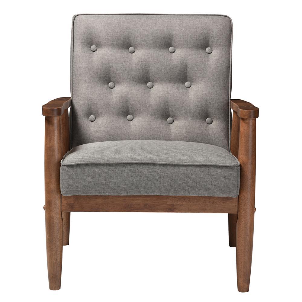 Baxton Studio Sorrento MidCentury Gray Fabric Upholstered