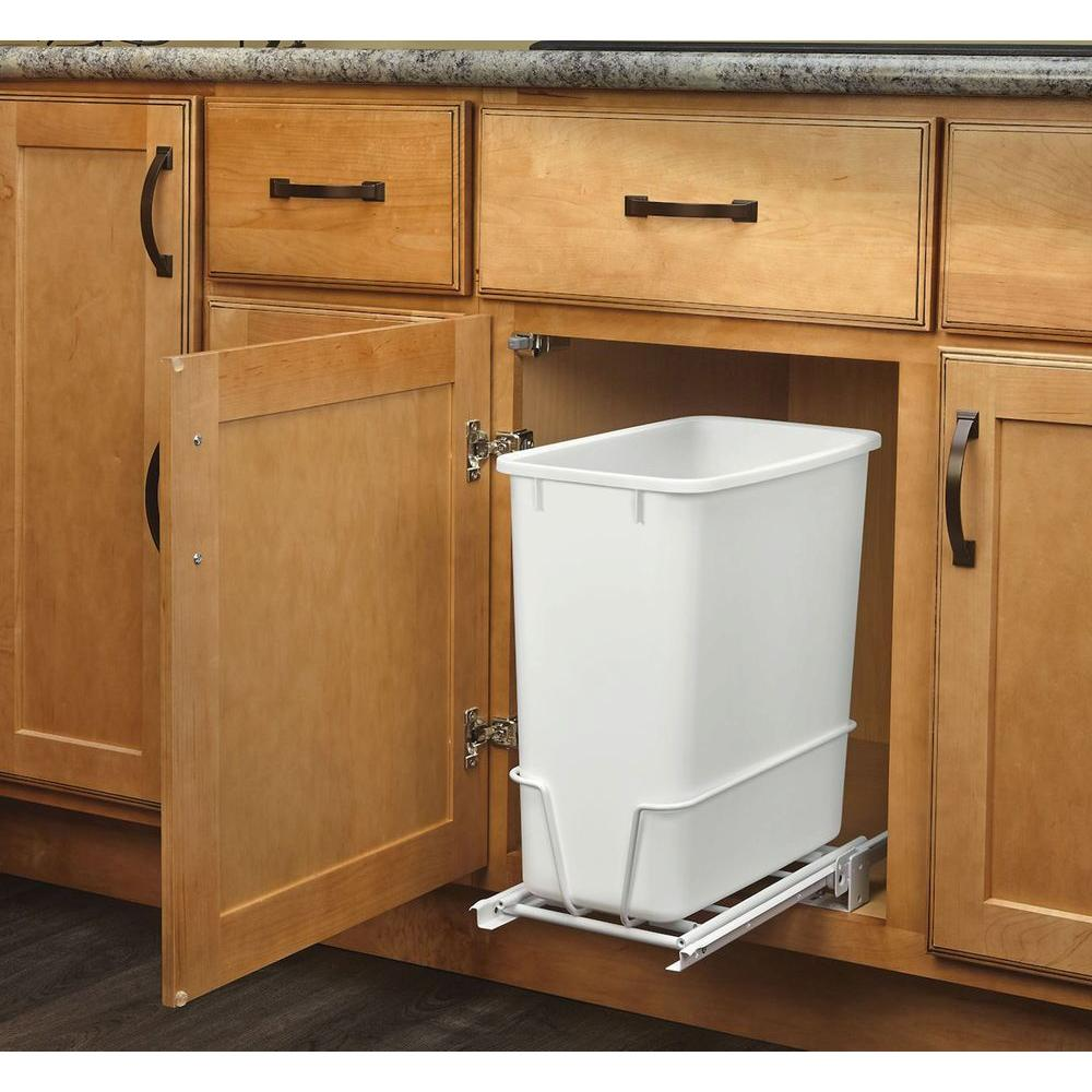 trash cans kitchen white quartz countertops 20 qt waste can garbage container pull slide details