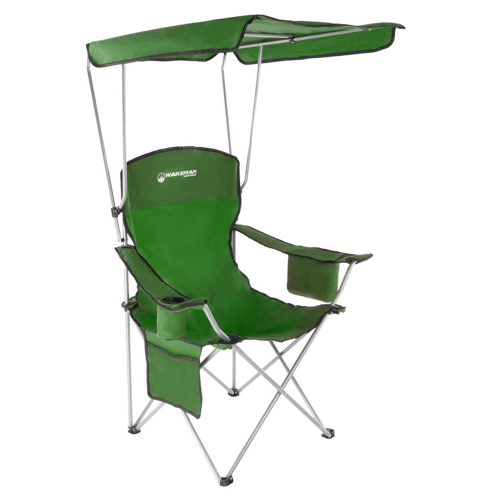 Camping Chair With Canopy Wakeman Green Heavy Duty Camp Chair With Sun Canopy