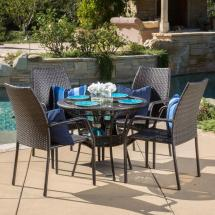 Noble House Libson Multi-brown 5-piece Wicker Outdoor