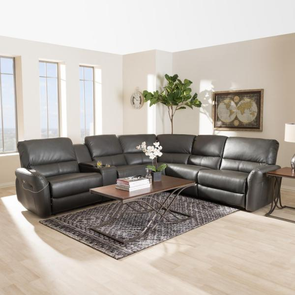 Gray Leather Reclining Sectional Sofa