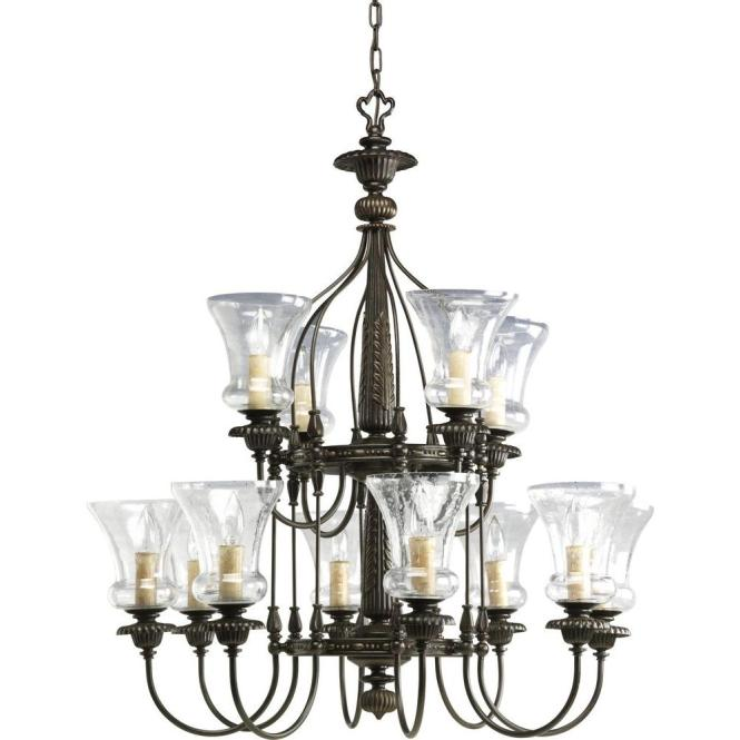 Progress Lighting Fioino Collection 12 Light Forged Bronze Chandelier With Shade Clear Seeded Glass P4411 77 The Home Depot