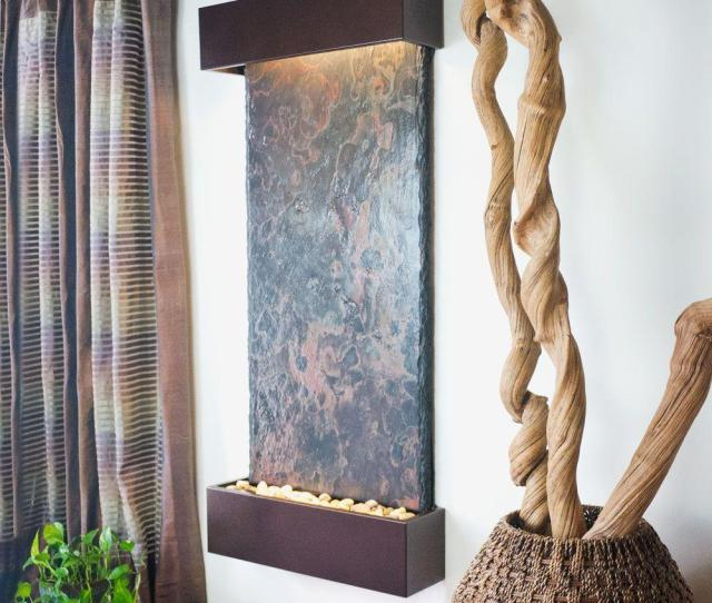 Water Wonders Large Nojoqui Falls Lightweight Slate Wall Fountain In Copper Vein Trim