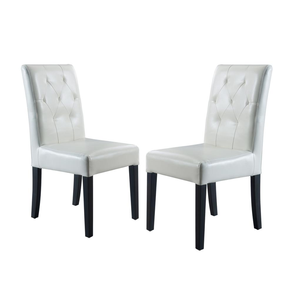 leather tufted dining chair little tikes classic table and chairs set noble house gentry ivory bonded of 2