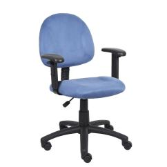 Posture Deluxe Chair King Louis Boss Blue Microfiber With Adjustable Arms B326