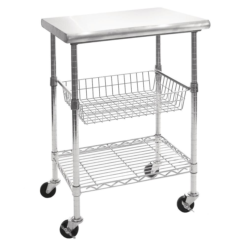 stainless steel kitchen cart canisters ceramic sets wire shelf basket adjustable height rolling wheels
