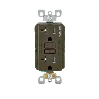 gfci outlet with switch wiring diagram hps ballast ge 20 amp backyard and gfi receptacle u010s010grp 125 volt afci dual function brown