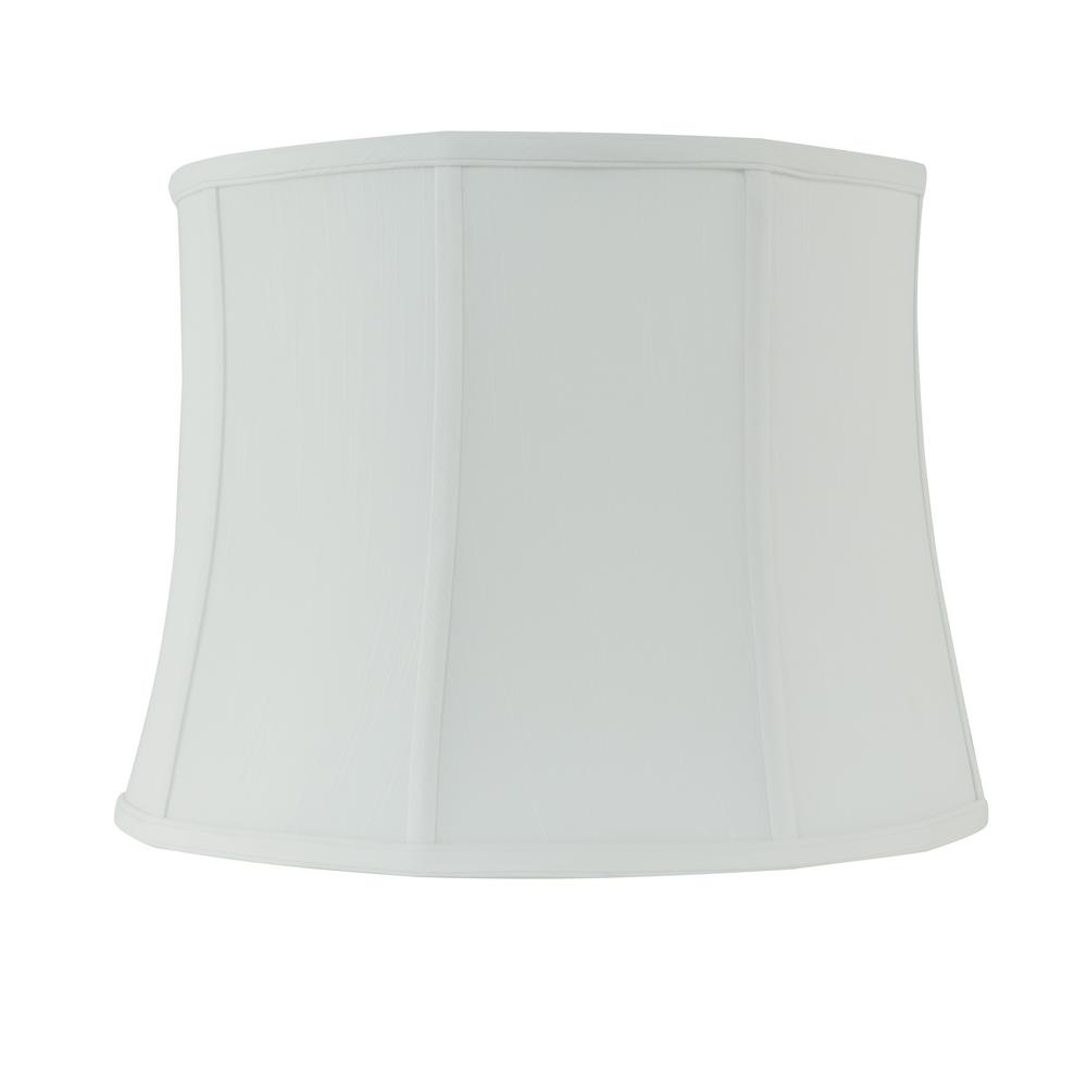 Rembrandt 16 in. Dia x 12 in. H White Linen Drum Lamp
