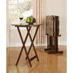 Wooden Folding Table And Chairs Set Oak Slat Back Dining Linon Home Decor Tray Faux Marble In Brown 43001tilset 01 As The Depot