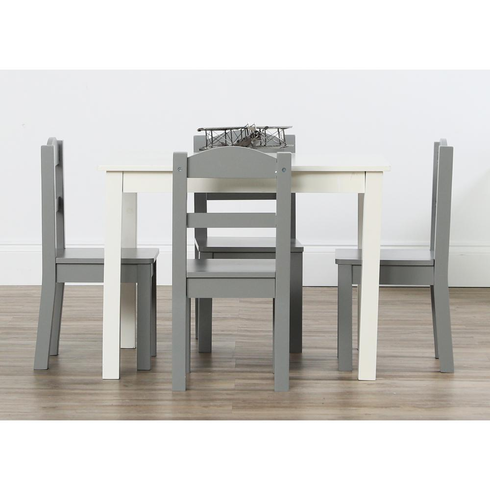 Kids Wood Table And Chairs Tot Tutors Springfield 5 Piece White Grey Kids Table And Chair Set