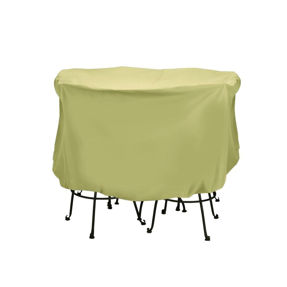 green patio chair covers positions chairman two dogs designs 74 in khaki large bistro set cover 2d pf74005 the home depot