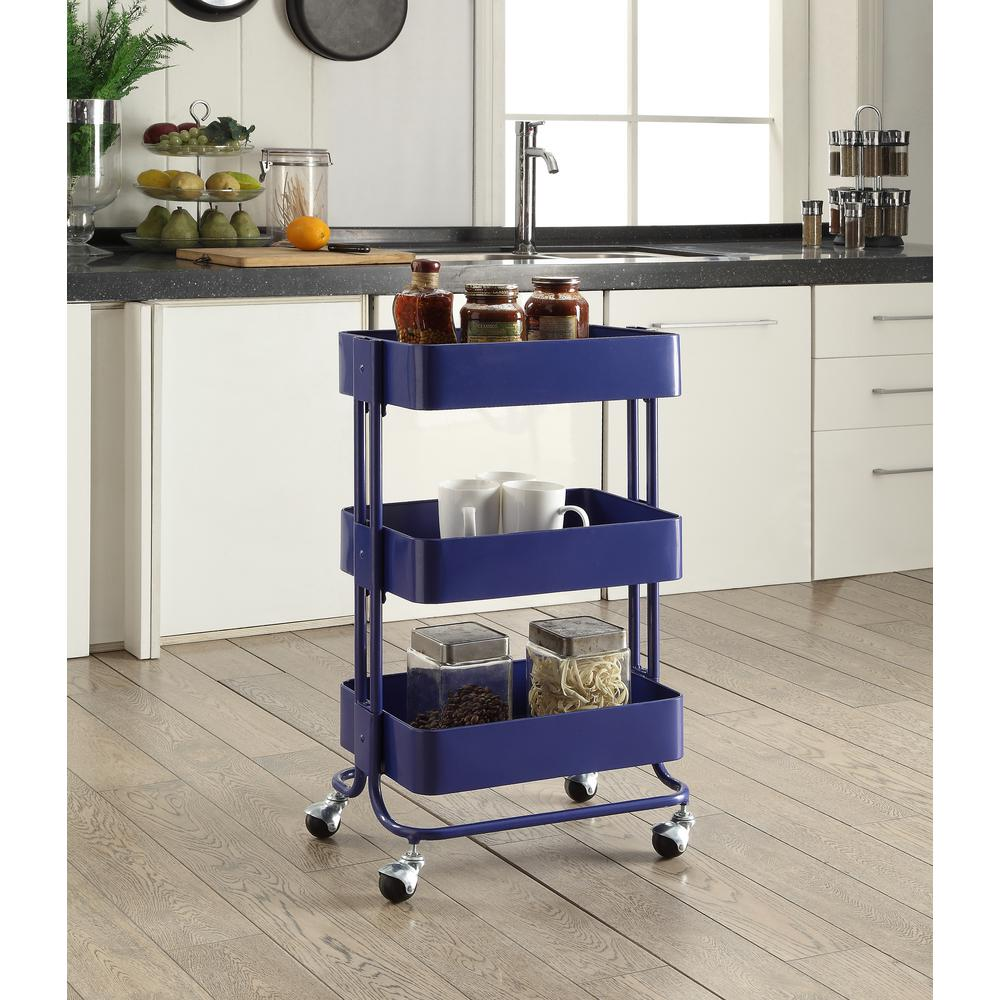metal kitchen carts faucet wall mount 3 tier royal blue cart ajucartroy01 the home depot