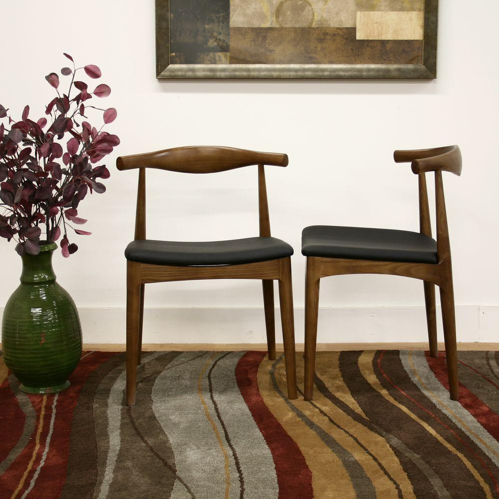 dark brown wooden dining chairs waiting for sale baxton studio sonore black faux leather upholstered and wood set of