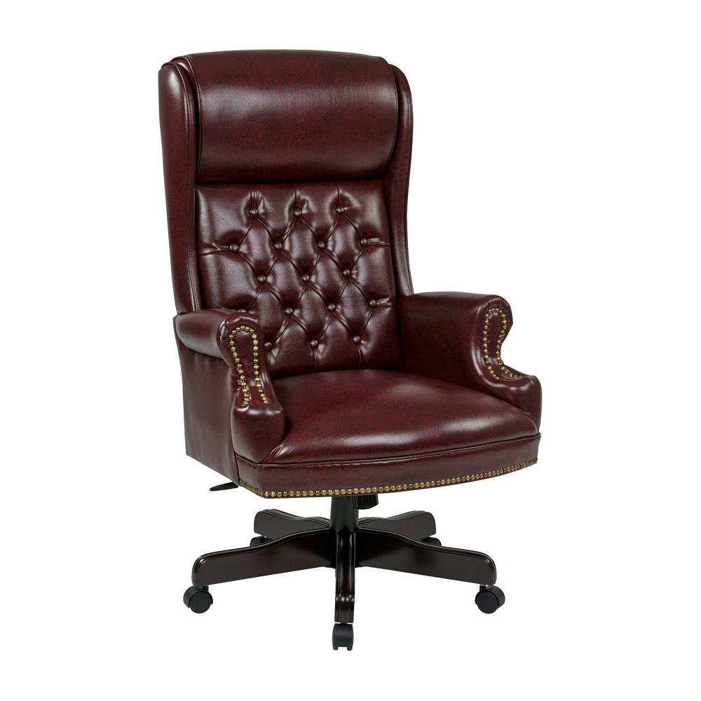 unique leather office chairs modern dining canada work smart oxblood vinyl high back executive chair tex228 jt4