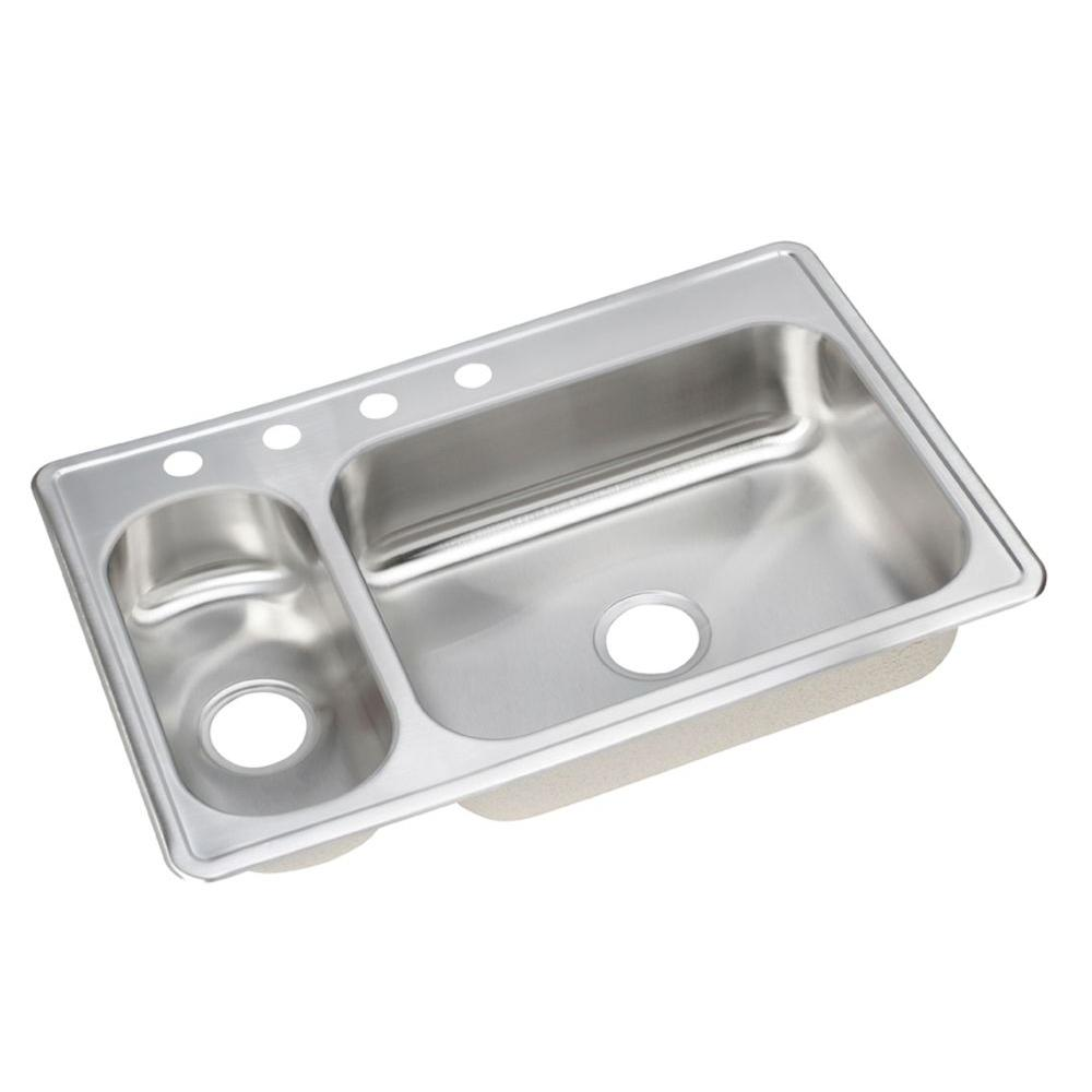 33 x 22 kitchen sink digital timer elkay dayton elite drop in stainless steel 4 hole double bowl left configuration