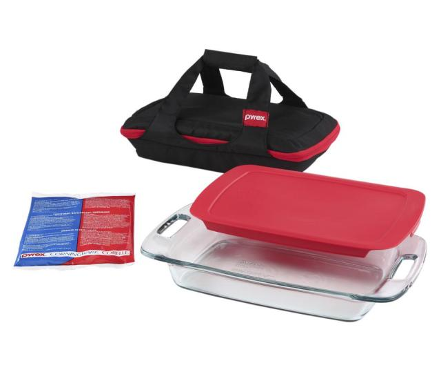Pyrex Easy Grab  Piece Portable Glass Bakeware Set With Red Lid