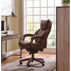 Wooden Leather Desk Chair Swivel Recliner Chairs La Z Boy Delano Chestnut Brown Bonded Executive Office 45833 The Home Depot