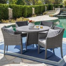 Noble House Gray 5-piece Wicker Outdoor Dining Set
