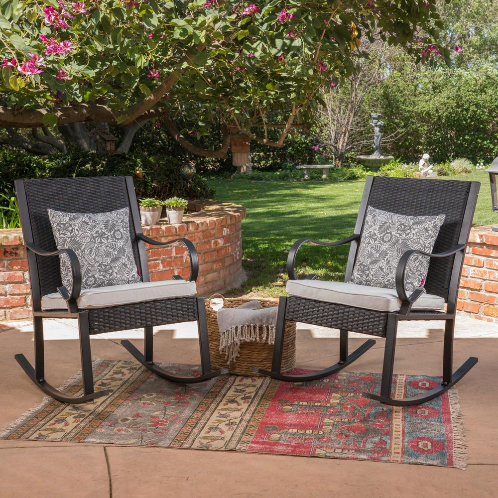 Black Wicker Rocking Chairs Noble House Harmony Black Wicker Outdoor Rocking Chairs With White Cushions 2 Pack
