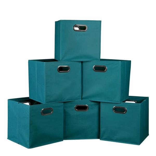 """Teal Foldable Fabric Bins 6 Pack 12x12"""" Reinforced Bottom"""
