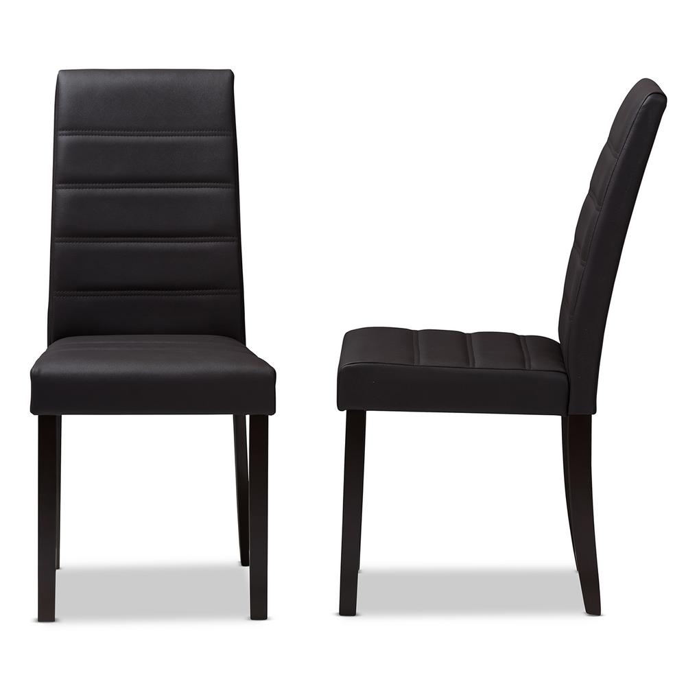 Black Leather Dining Chairs Baxton Studio Lorelle Dark Brown Faux Leather Dining Chair Set Of 2