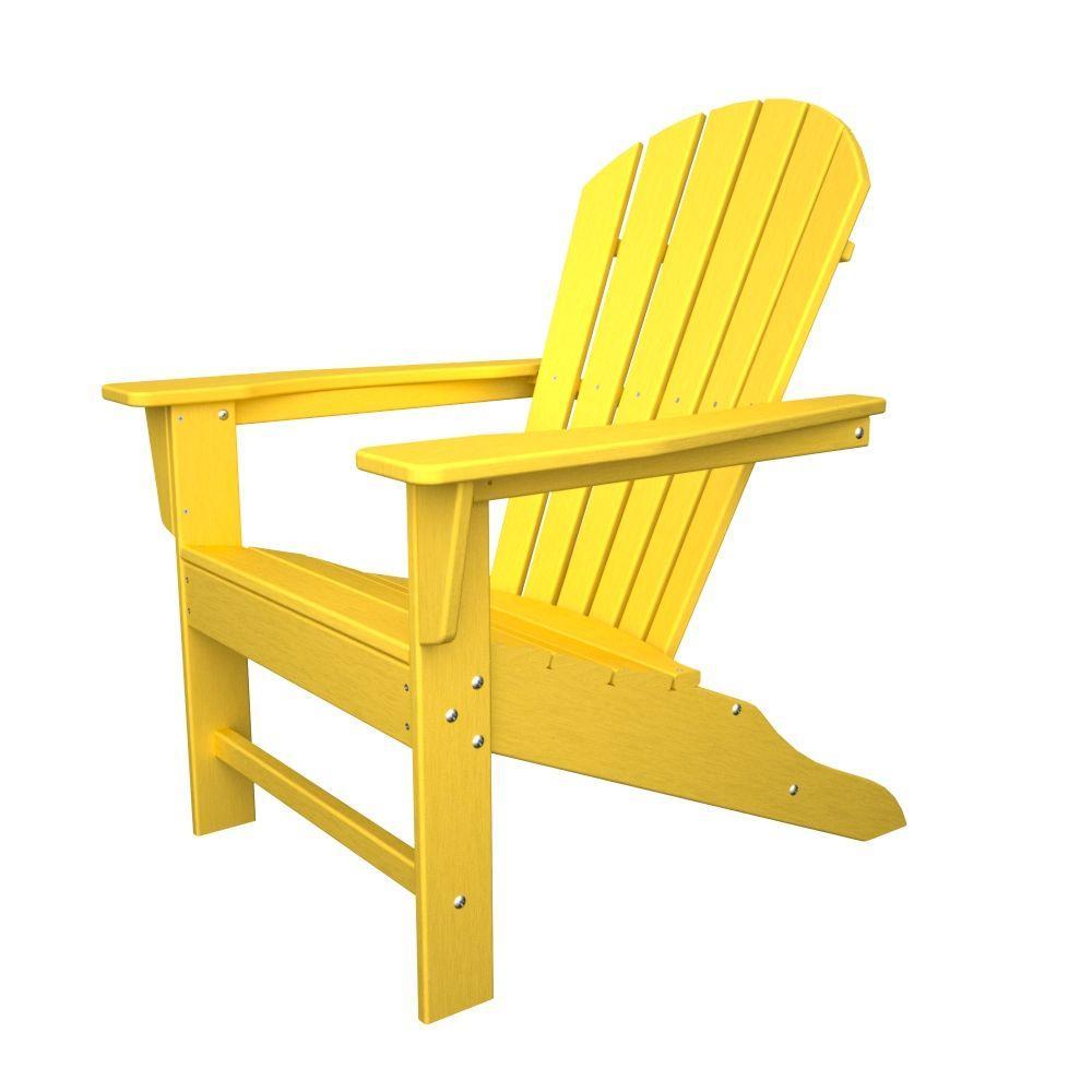 South Beach Lemon Plastic Patio Adirondack Chair Porch