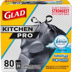 Glad Kitchen Trash Bags Outdoor Pavilion Designs 20 Gal Forceflex Pro Drawstring Fresh Clean Odor Shield