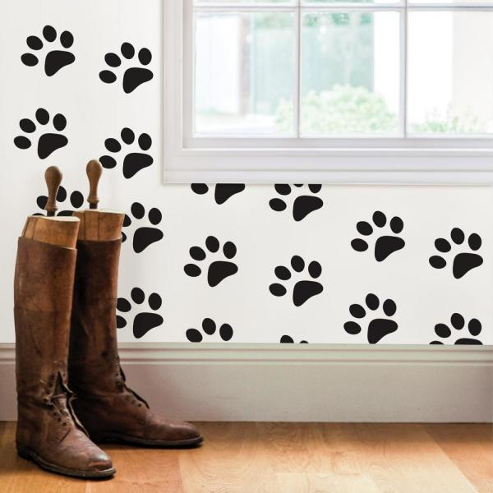 black paw prints wall
