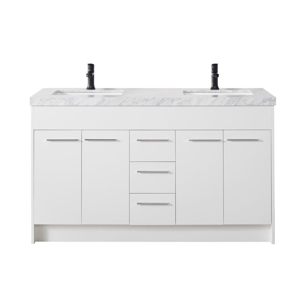 Stufurhome Lotus 60 In Bath Vanity In White With White Marble Vanity Top In White With White Basin And Matte Black Faucet Ty 999 60 9001mb The Home Depot