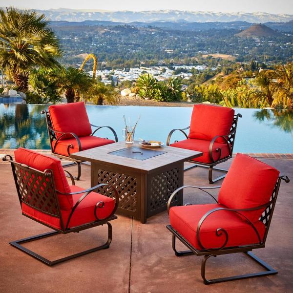 Royal Garden Sienna 5-piece Metal Patio Fire Pit Conversation Set With Red Cushions-senfst503