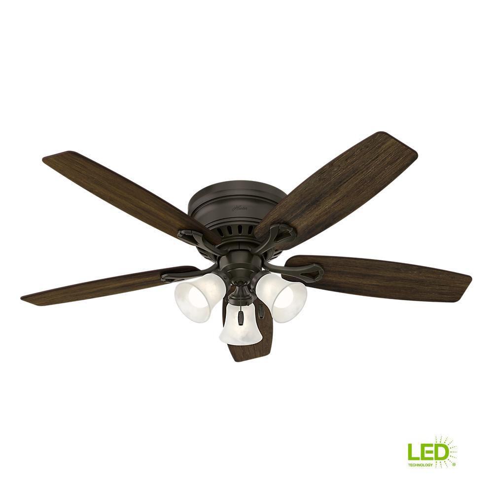 ceiling fan with light kit wiring diagram heil heat pump thermostat hunter oakhurst 52 in led indoor low profile new bronze
