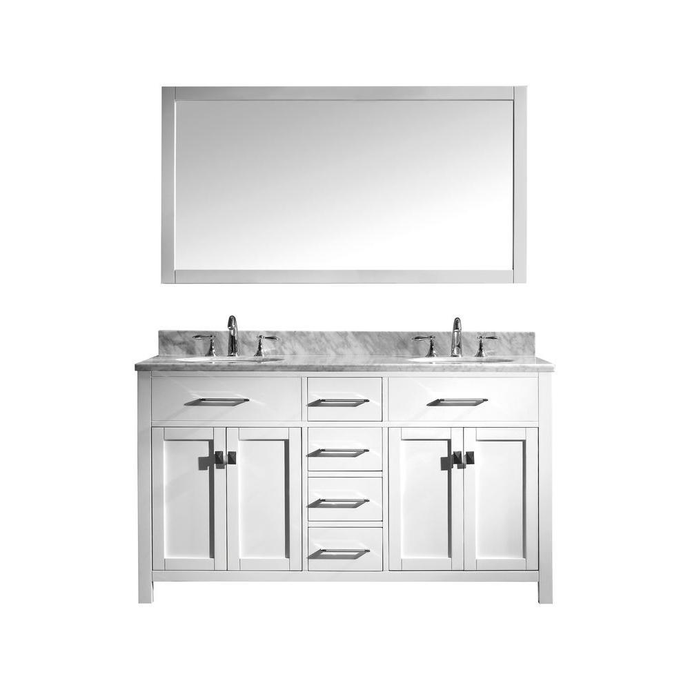 virtu usa caroline 60 in w bath vanity in white with marble vanity top in