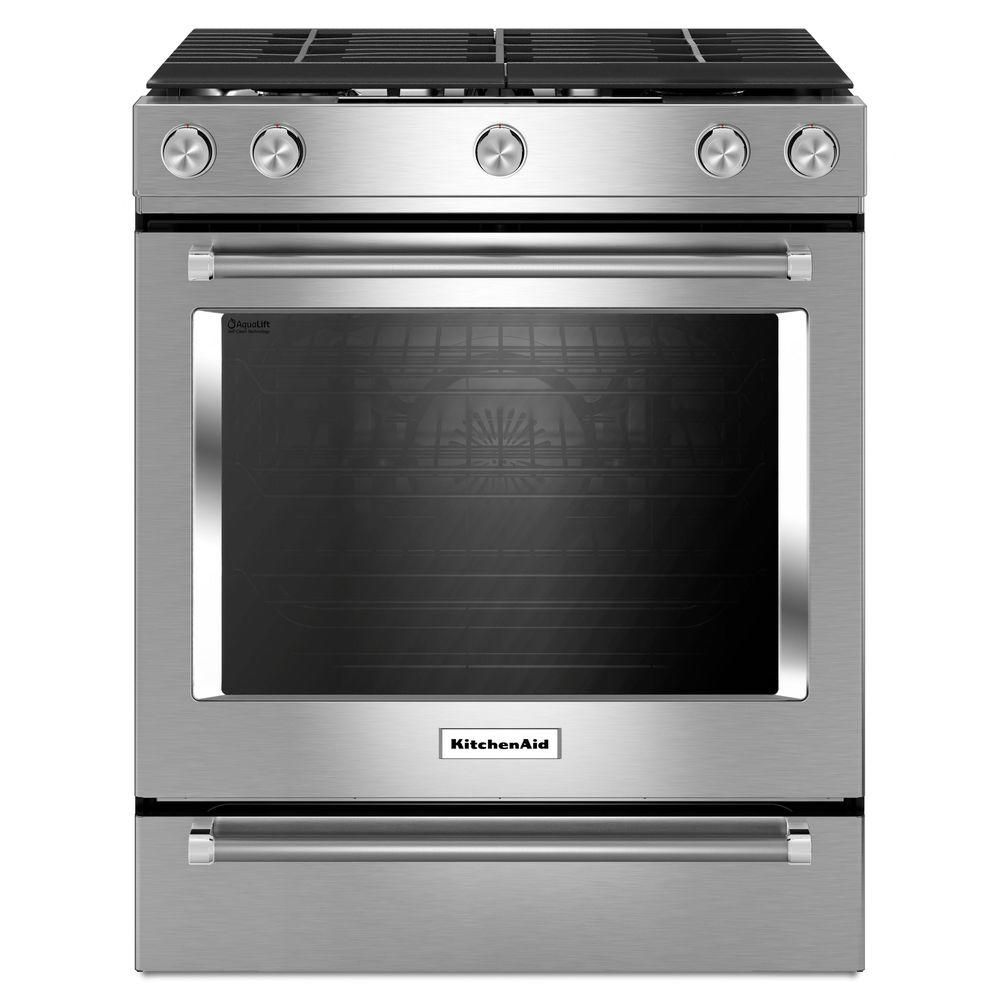 kitchen aid gas stove carts target kitchenaid 5 8 cu ft slide in range with self cleaning convection