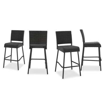 outdoor bar chairs dxracer gaming stools furniture the home depot neal wicker stool 4 pack