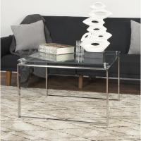 Clear Glass Coffee Table with Silver Stainless Steel Legs ...
