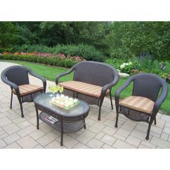 Cushions For Wicker Chairs Wood Chair Rail Oakland Living Elite Resin 4 Piece Patio Seating Set With Striped