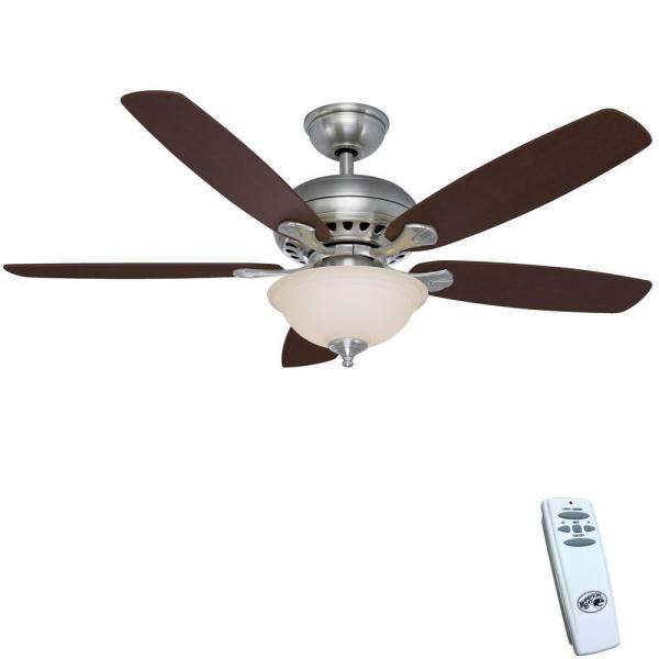 Hampton Bay Southwind 52 In. Led Indoor Brushed Nickel Ceiling Fan With Light Kit And Remote