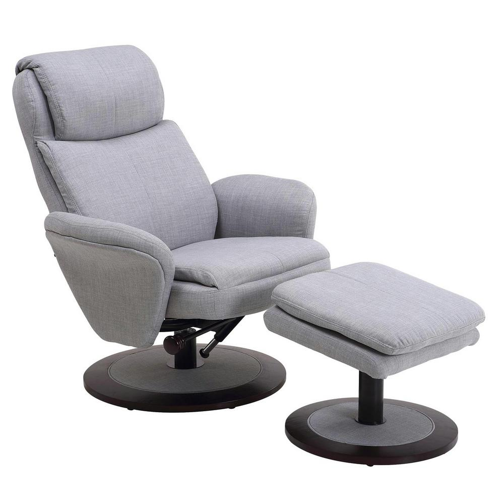 Mac Motion Chairs Mac Motion Comfort Chair Light Grey Fabric Swivel Recliner With Ottoman