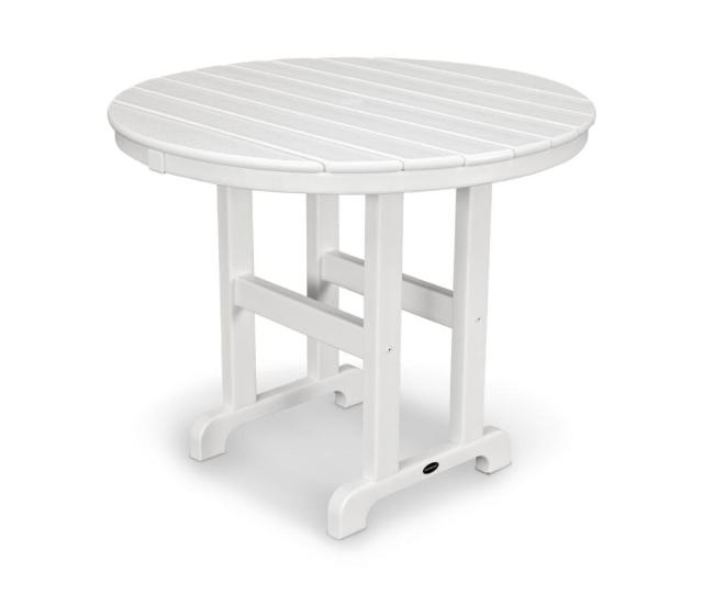 White Round Plastic Outdoor Patio Dining Table