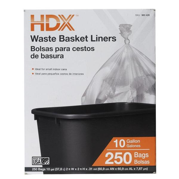 Gal. Waste Liner Clear Trash Bags 250 Count Garbage Gallon Basket Home 692560151348