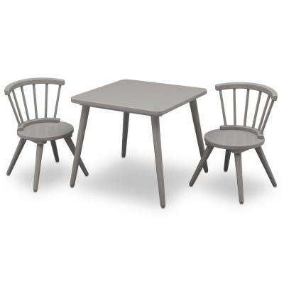 table with chairs comfortable reading chair solid wood kids tables playroom the home depot grey windsor and 2 set
