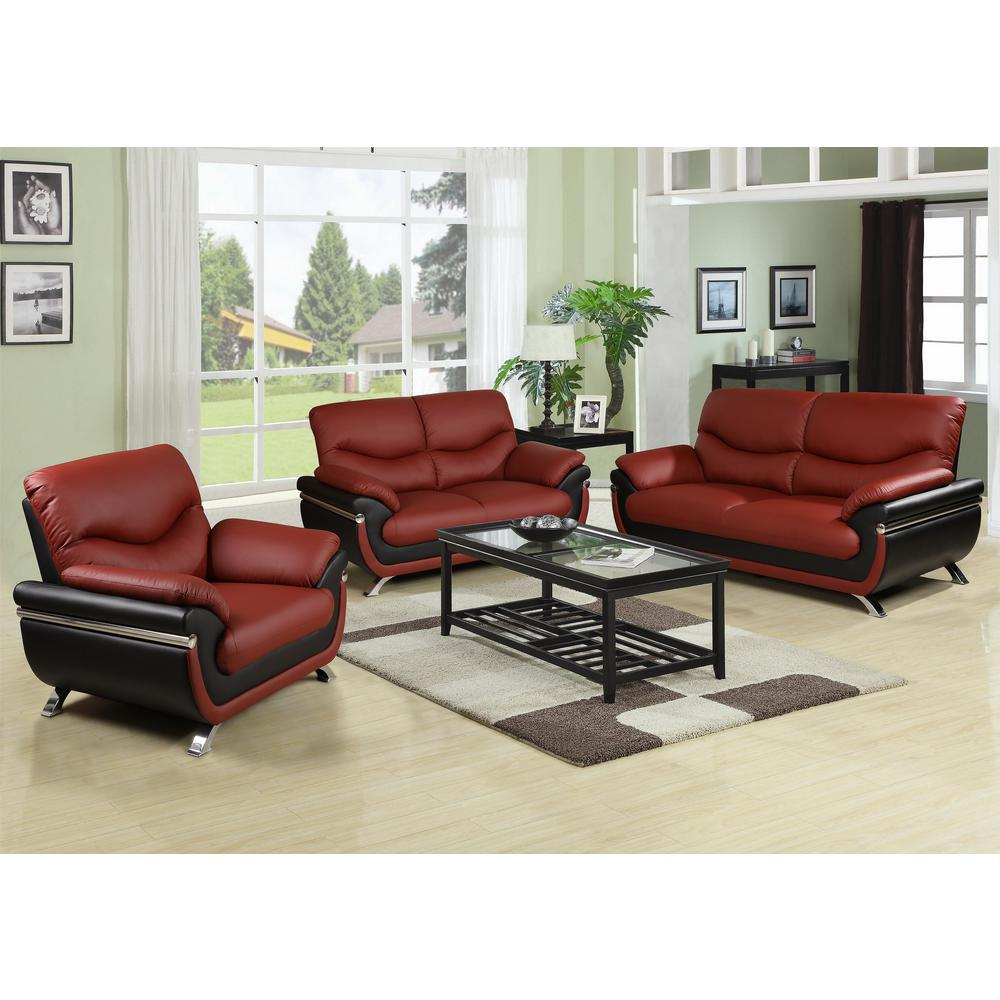 Twotone Brown and Black Leather Three Piece Sofa Set
