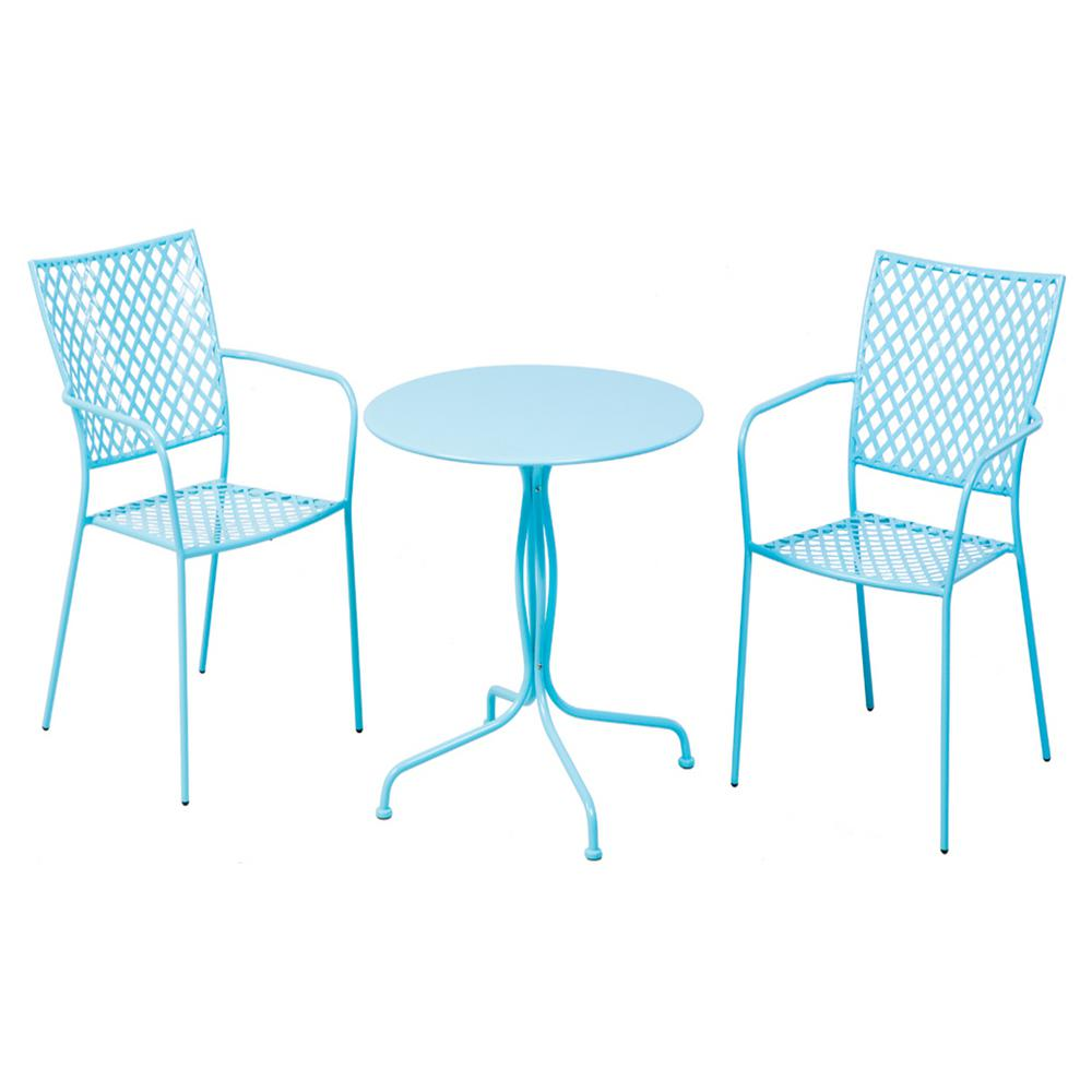 blue bistro chairs staples desk chair alfresco 3 piece martini metal set in sky finish with 27 5 round table and 2 stackable