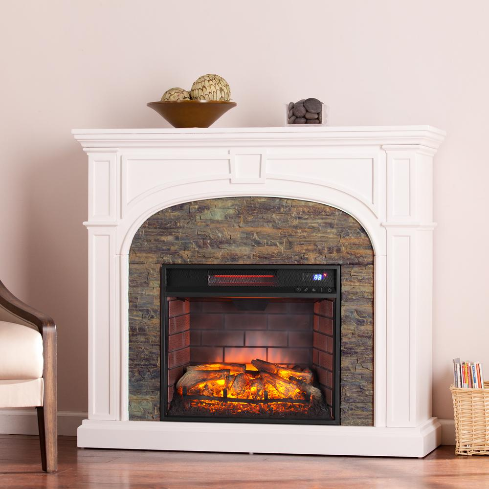 Granby 4575 in W Faux Stone Infrared Electric Fireplace in WhiteHD91241  The Home Depot