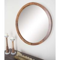 30 in. Round Natural Brown Framed Wall Mirror-77126 - The ...
