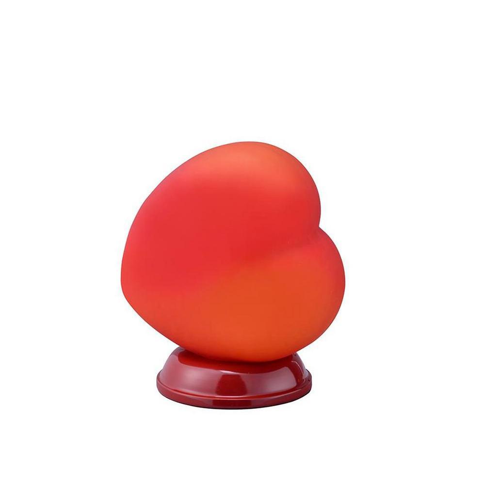 ORE International 8.5 in. Red Heart Shape Table Lamp