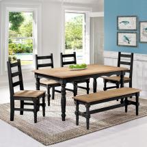 Manhattan Comfort Jay 6-piece Black Wash Solid Wood Dining